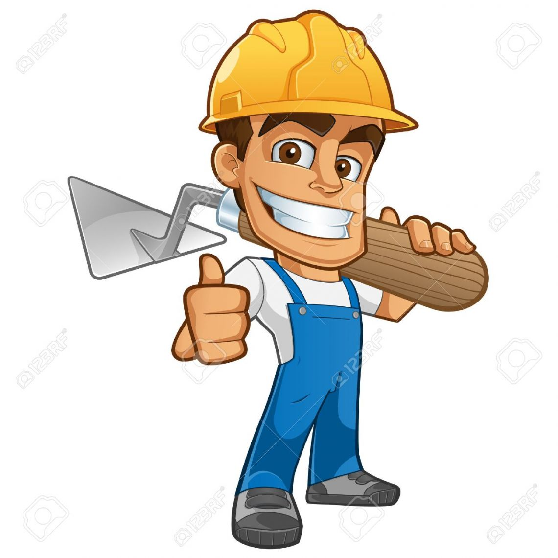 44058528 sympathetic bricklayer dressed in work clothes he wears a helmet and trowel